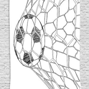 Tapestry Soccer Goal Print Wall Hanging Backdrop
